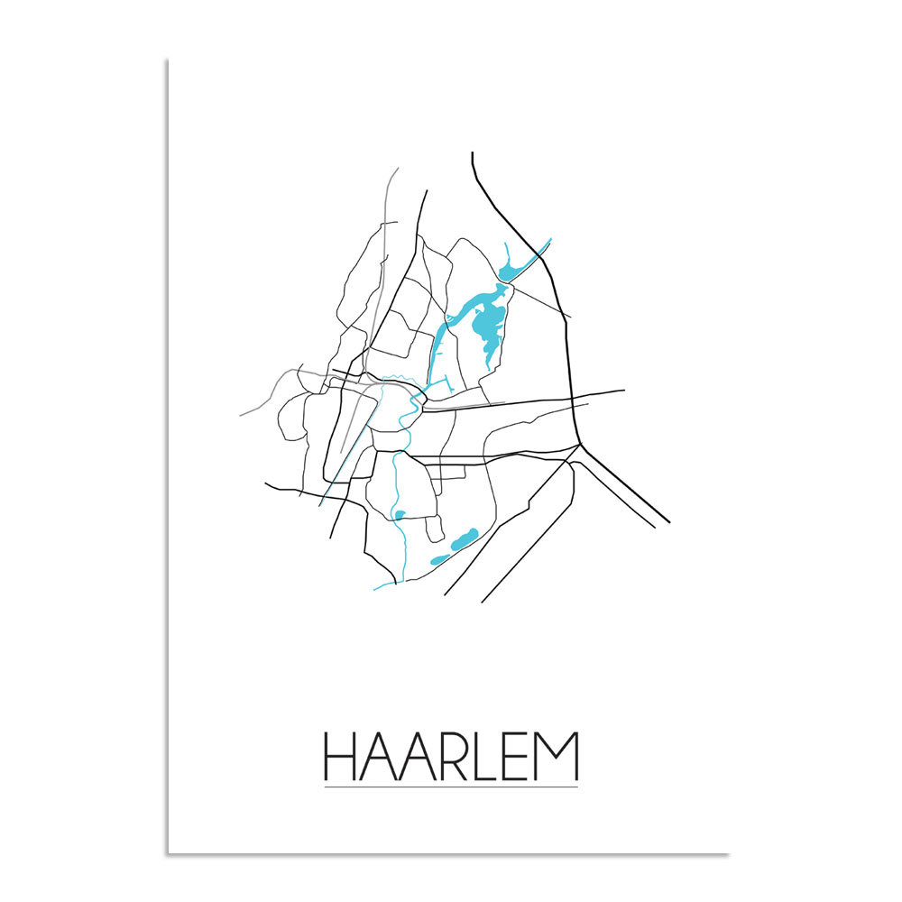 Poster Haarlem - Plattegrond / Stadskaart van Haarlem