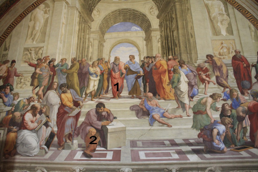 A Escola de Atenas, 1506-1510. // 1. Platão segurando o Timeu. (rosto de Leonardo da Vinci). 2. Heráclito (com rosto de Michelangelo).