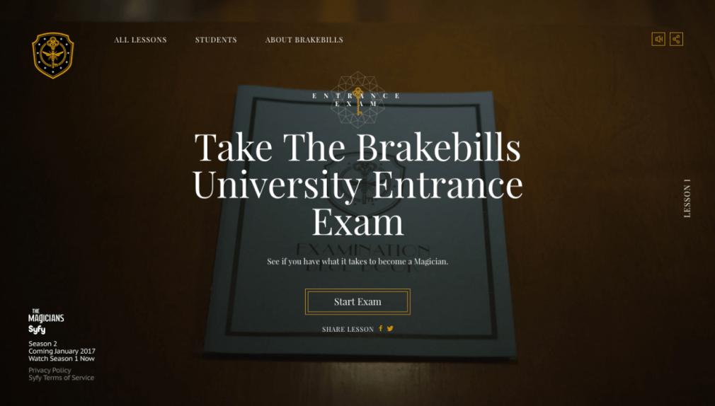 Take the Brakebills University Entrance Exam