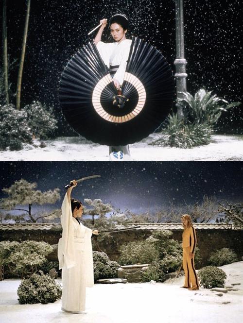 Jardim iluminado em Lady Snowblood e Kill Bill