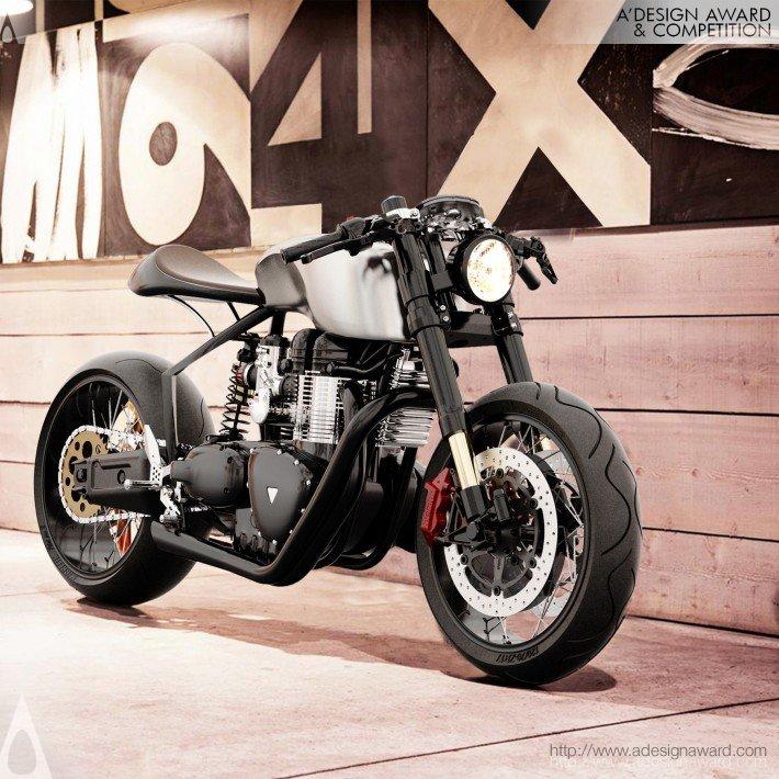 """Moto Elétrica Híbrida """"Black Shadow H-E Concept Hydrogen"""", por Mark Norton Menédez - ganhador do troféu Platinum 2012."""