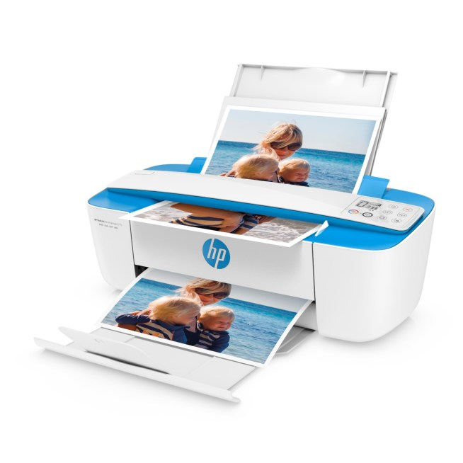 HP DeskJet Ink Advantage 3775 All-in-One, 3700 Series, Left facing, Open, with input and output