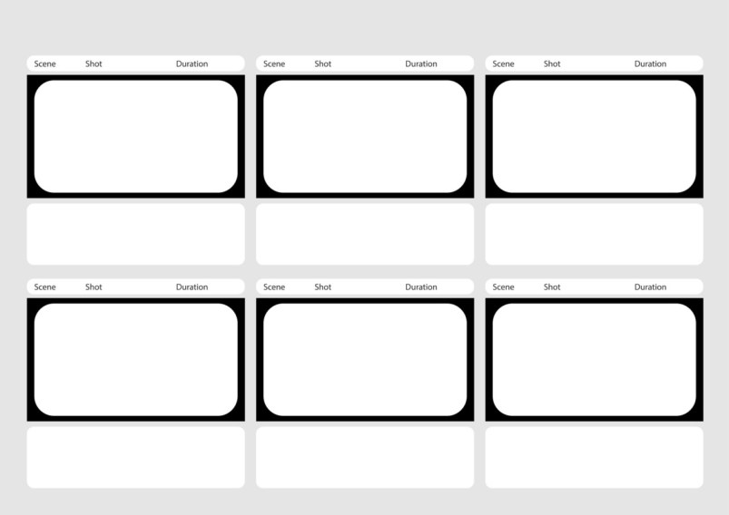 Professional of HD 1920 x 1080 16:9 storyboard template is convenience to present the storyline to client. A4 design of paper ratio is easy to fit for print out.