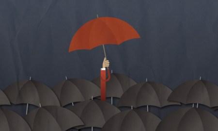 Paraguas destacando