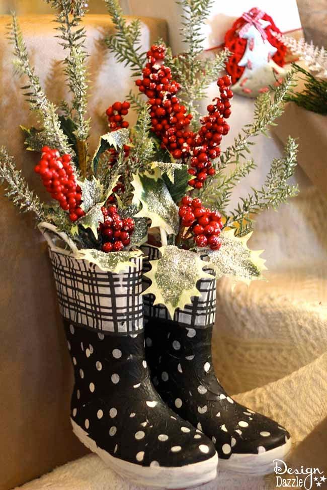 Repurpose Old Rubber Boots Into Christmas Decor Design Dazzle