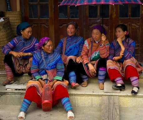 Red Hmong Women at Market