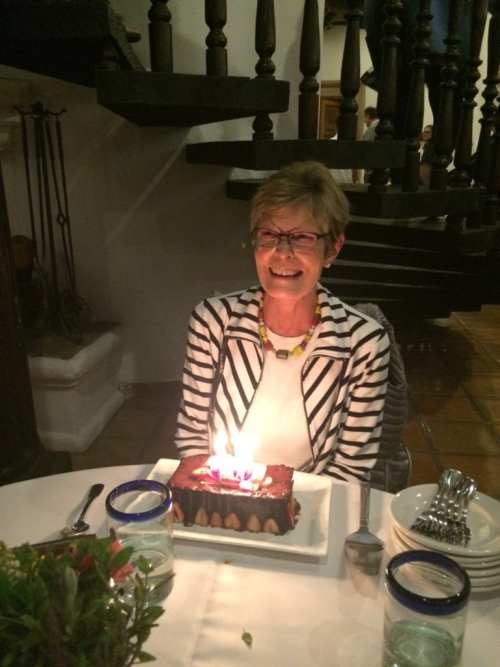 Kathy Leech, celebrating her birthday at Rancho La Puerta
