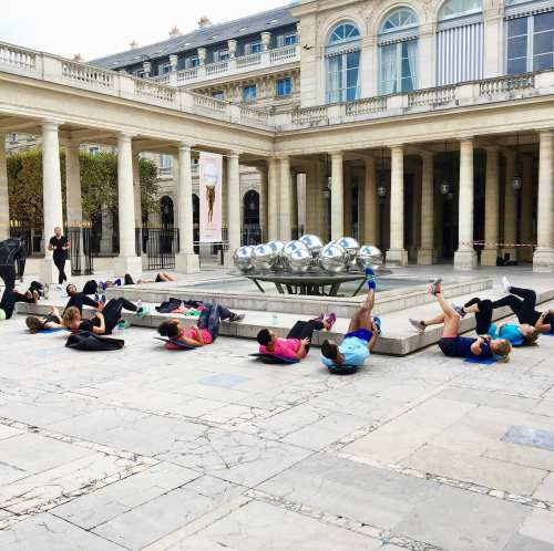 Exercise class at Palais Royale