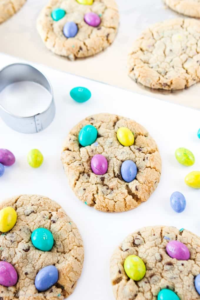 Before baking, place the dough into a egg shaped cookie cutter to mold into the easter egg shape!