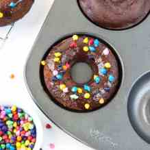 Cosmic Triple Chocolate Cake Donuts
