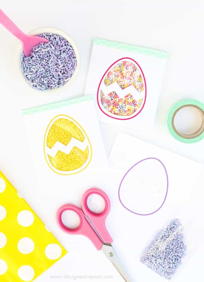 Easter Egg Printable Sprinkle Party Favors by Design Eat Repeat - includes free template printable!