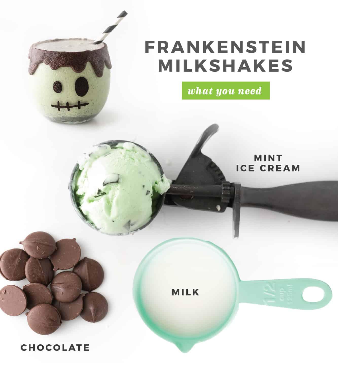 Ingredients to make Frankenstein Halloween Milkshakes. Mint chip ice cream scoop, dark chocolate wafers, blue measuring cup of milk, frankenstein milkshake.