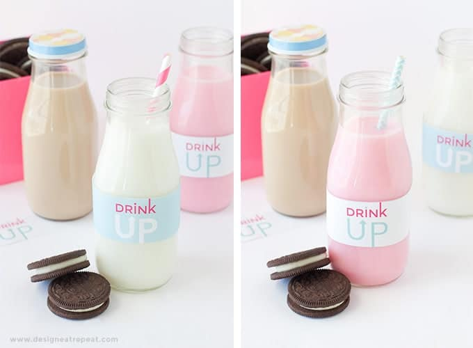 """Free Printable """"Drink Up"""" Milk Jar Labels by Design Eat Repeat   Add to a recycled bottle for a fun Milk & Cookie party idea!"""