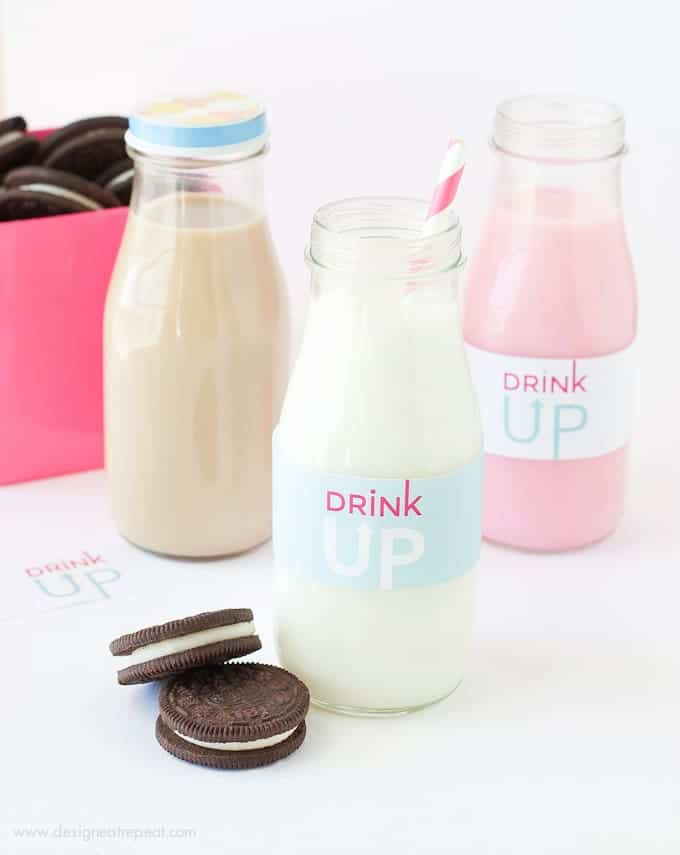 """Free Printable """"Drink Up"""" Milk Jar Labels by Design Eat Repeat   Add to a recycled bottle for a fun Milk and Cookie party idea!"""