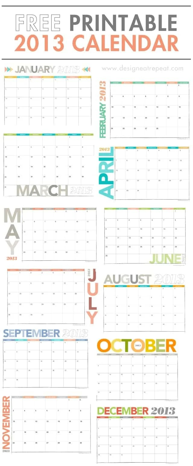 Year Calendar Repeats : Printable calendar