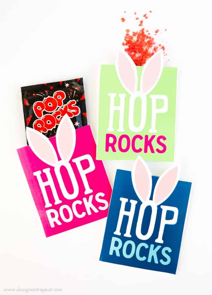 "Need a fun way to spruce up your kid's Easter basket? Print off these Free Easter Printable ""Hop Rock"" Pouches and add in a packet of pop rocks for a fun surprise!"