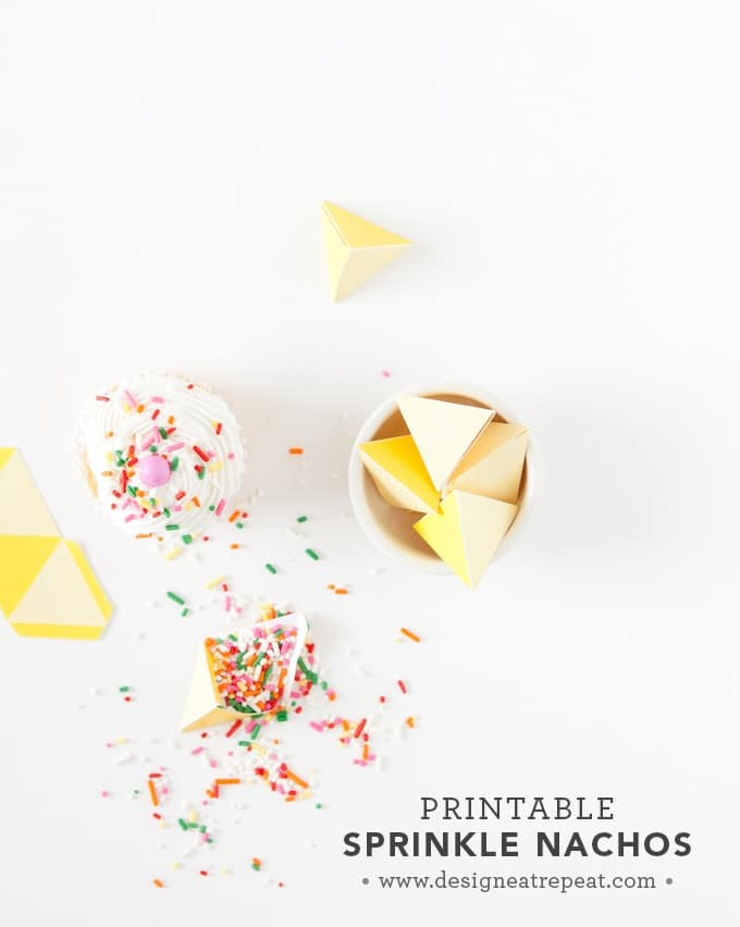 Printable Sprinkle Party Favors | Perfect for birthdays, cupcake parties, or even taco parties (these were made to look like little nachos!). So cute!