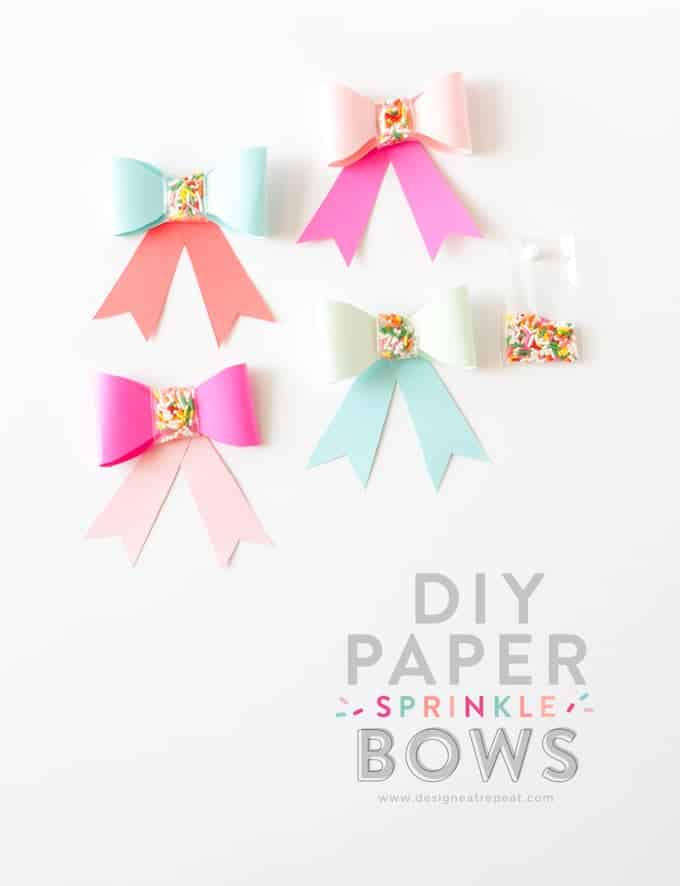 Use this free printable template to make these adorable DIY Paper SPRINKLE bows! Great for birthdays, holidays, or just to gift fun supplies to your favorite baker! Designed by Design Eat Repeat
