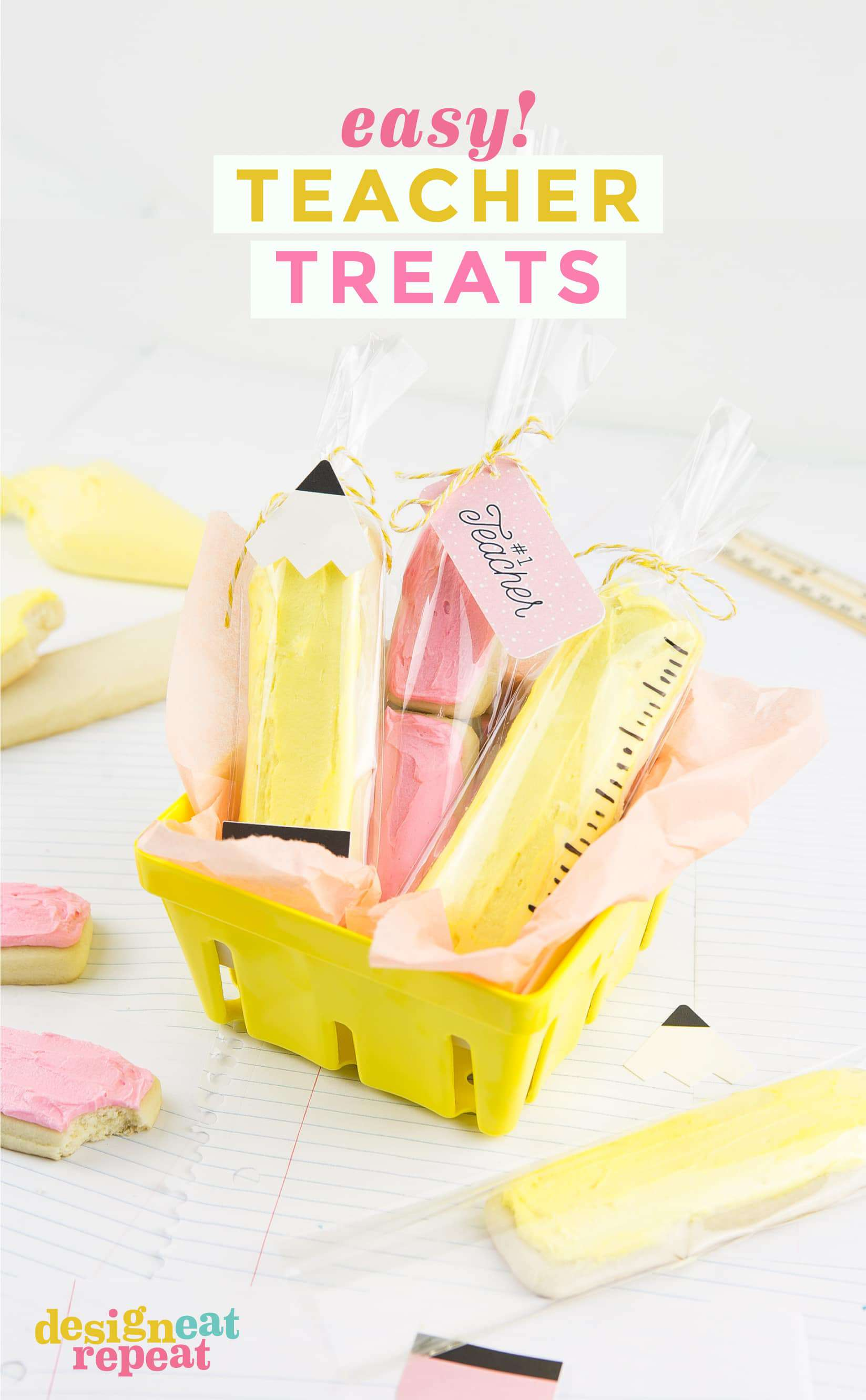 Whip up these easy teacher treats as a way to thank the teachers in your life! No fancy decorating needed - just cookies, clear treat bags, and cute printables!