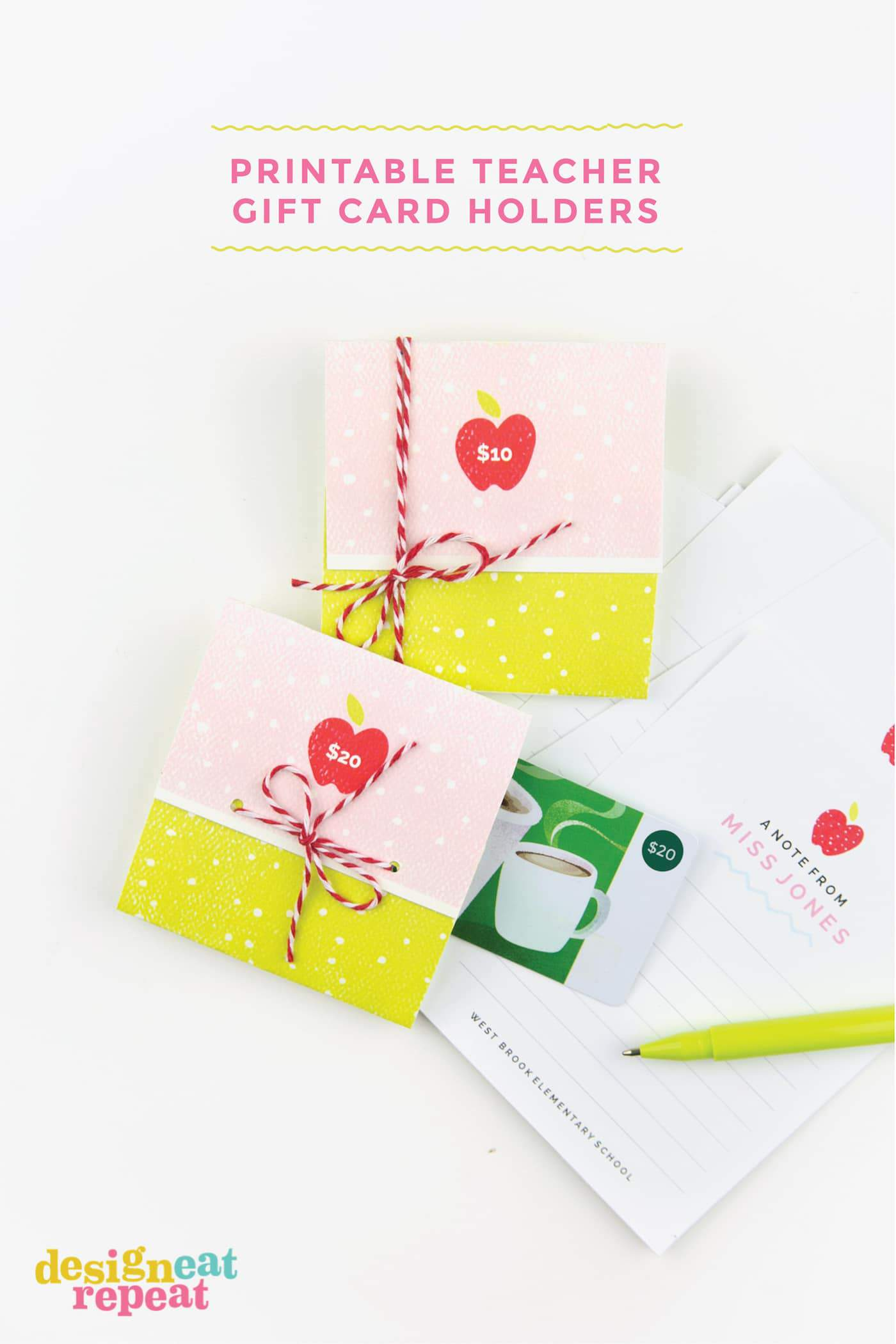 Instead of gifting generic body soaps or apple-themed home decor this year, give your teachers something they really want: money! These printable gift card holders can be personalized with the dollar amount and have lots of space inside to write a personal note! #avery #printables #teachergiftidea