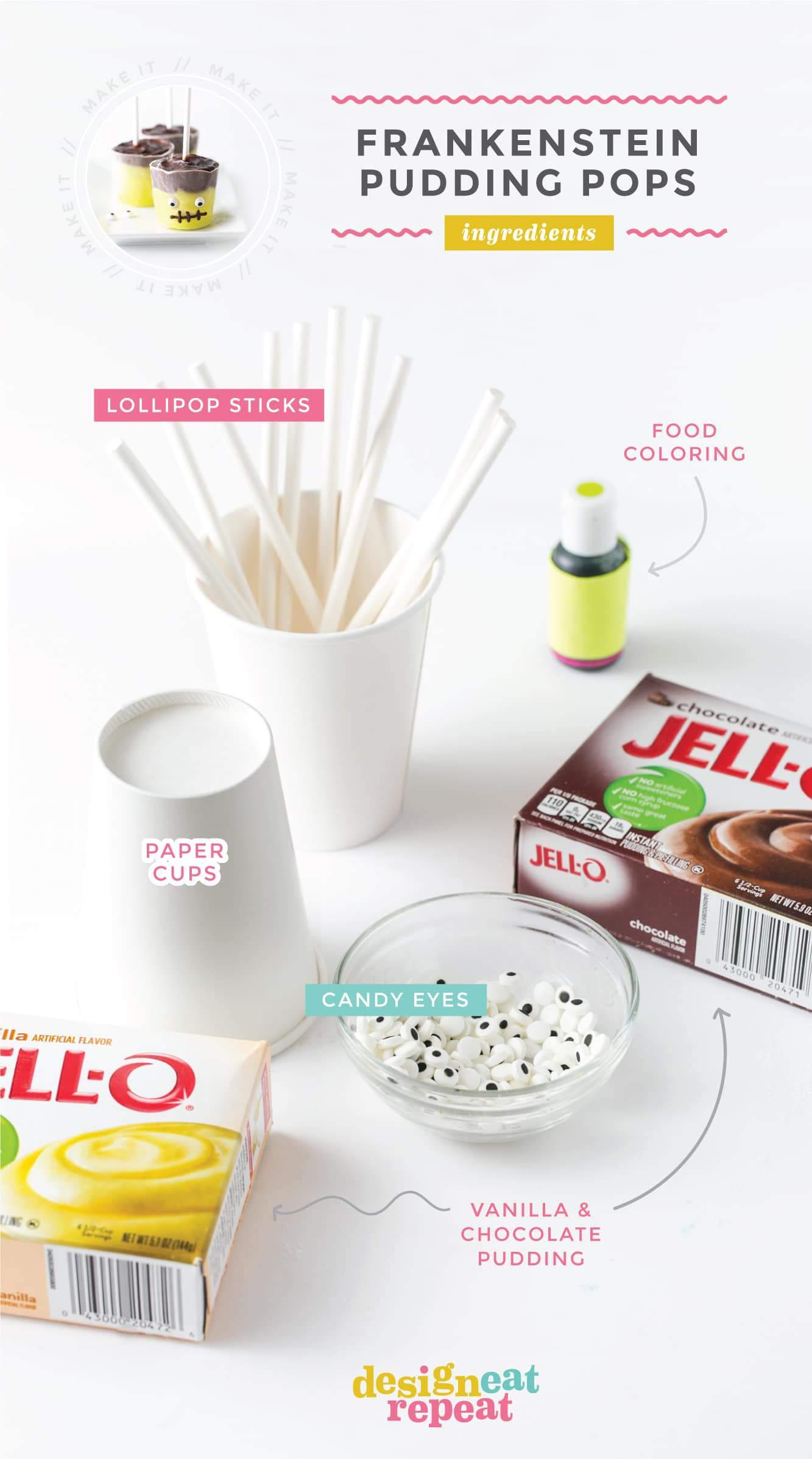 Ingredients for Frozen Halloween Pudding Pops
