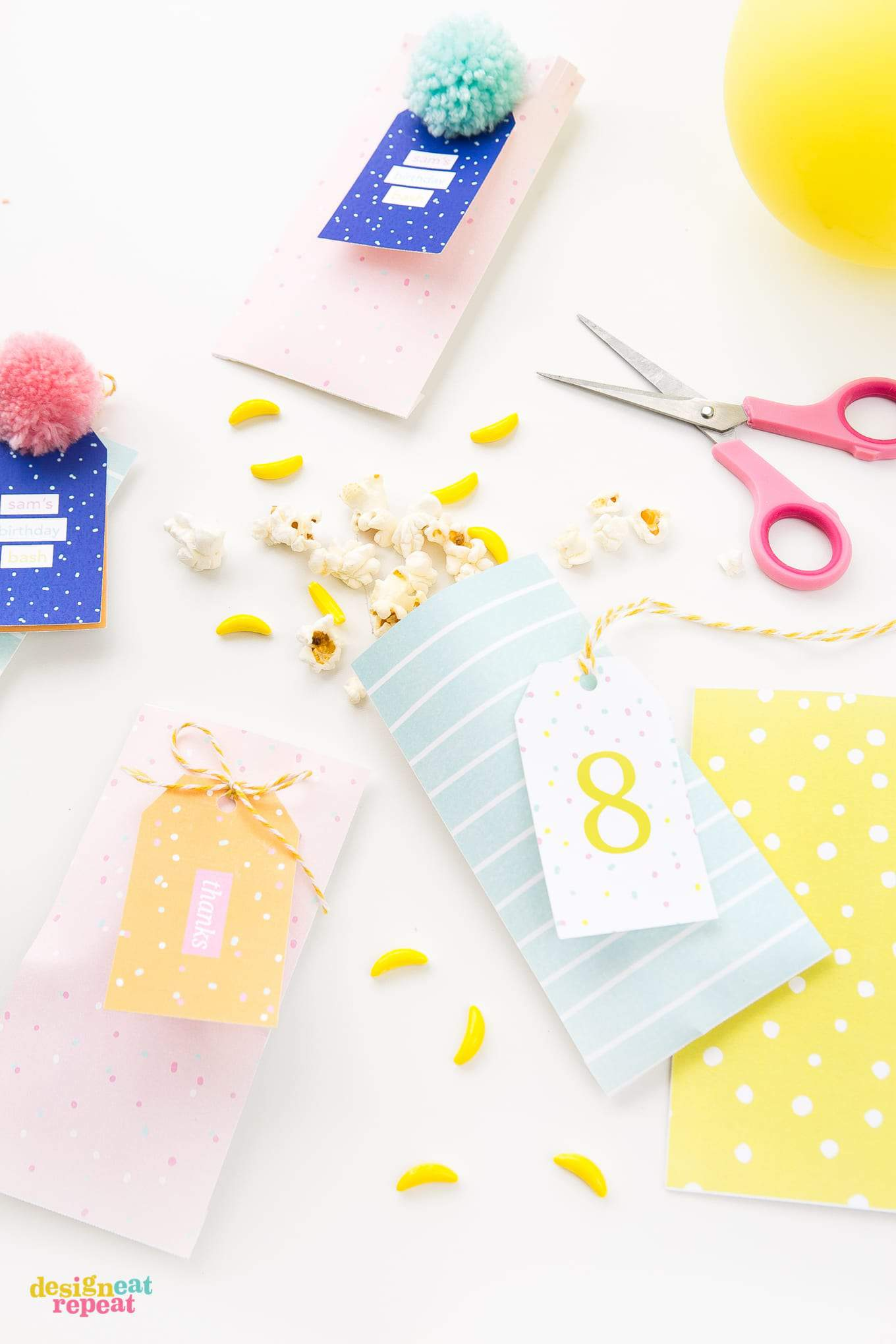 Download these printable treat bags and fill with candy & trinkets for the perfect birthday party favor or envelope!