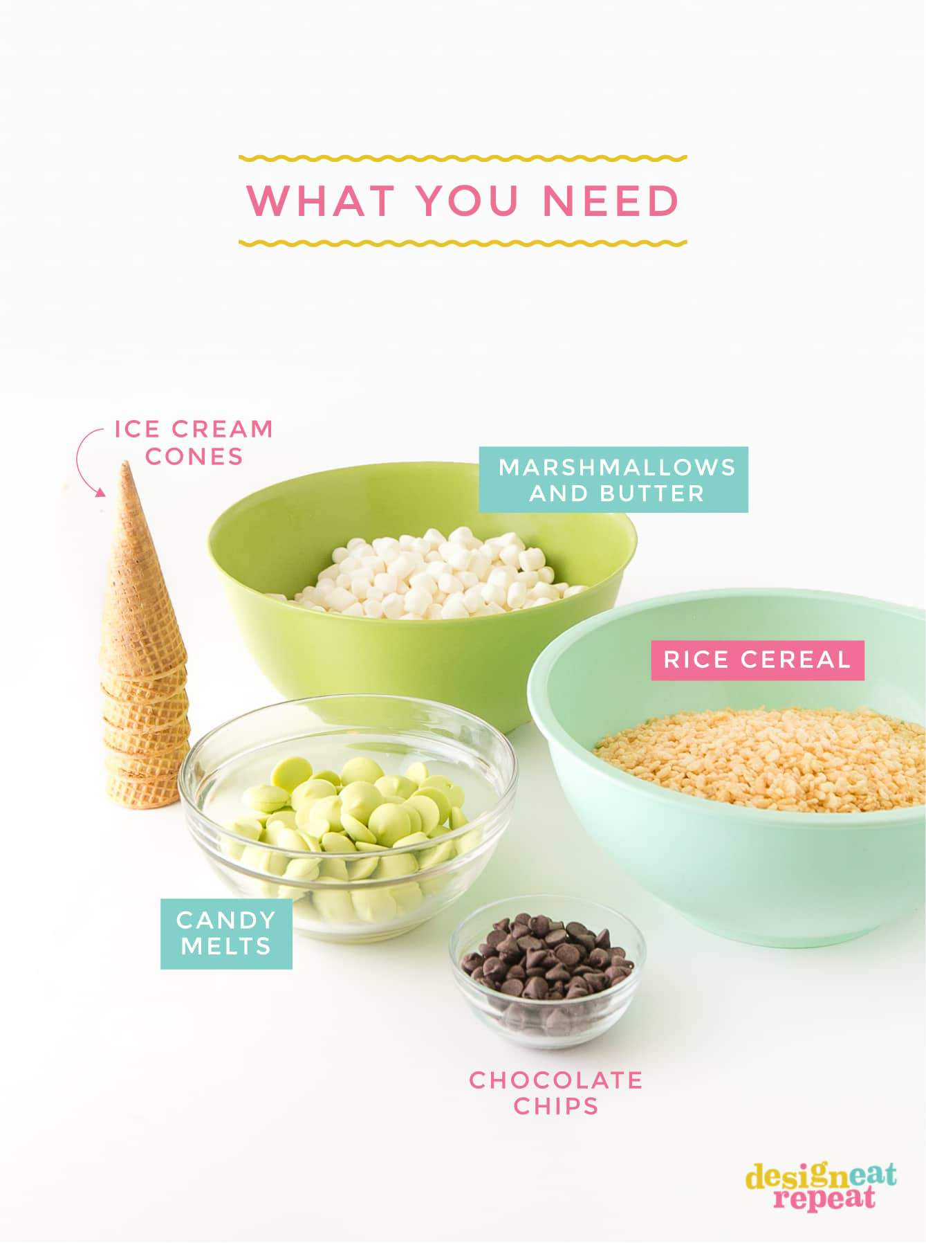 Ingredients for Cute Zombie Halloween Rice Krispie Treats - Green Bowl of Marshmallows, Blue Bowl of Rice Krispy Cereal, Bowl of Green Candy Melts, Stack of Ice Cream Cones, Bowl of Chocolate Chips