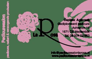 Voorkant visitekaartje Pedicuresalon La Rosa