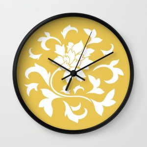 oriental-flower-mustard-yellow-wall-clocks