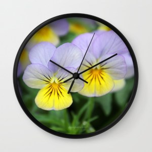 yellow-purple-pansy-flower-7g9-wall-clocks