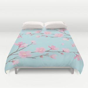 square-cherry-blossom-sky-blue-duvet-covers