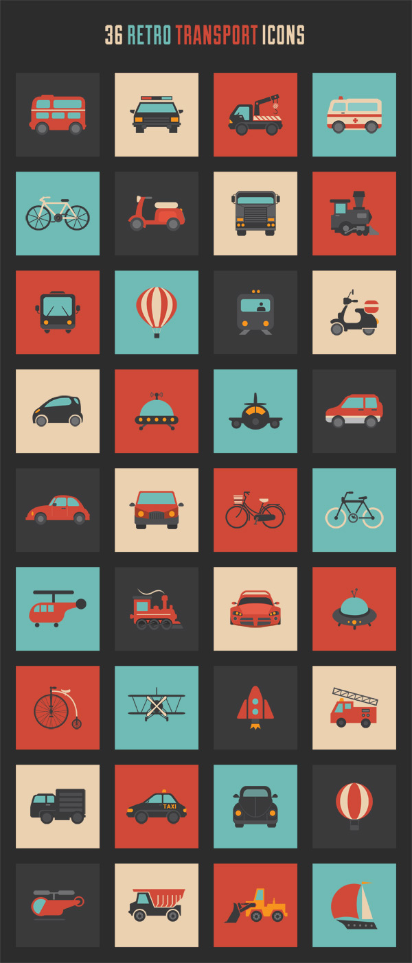 retro-transport-icon-set