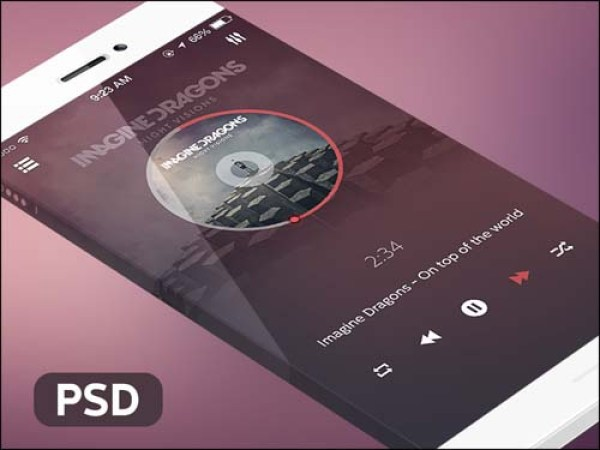 Music Player iOS App Free PSD Mockup