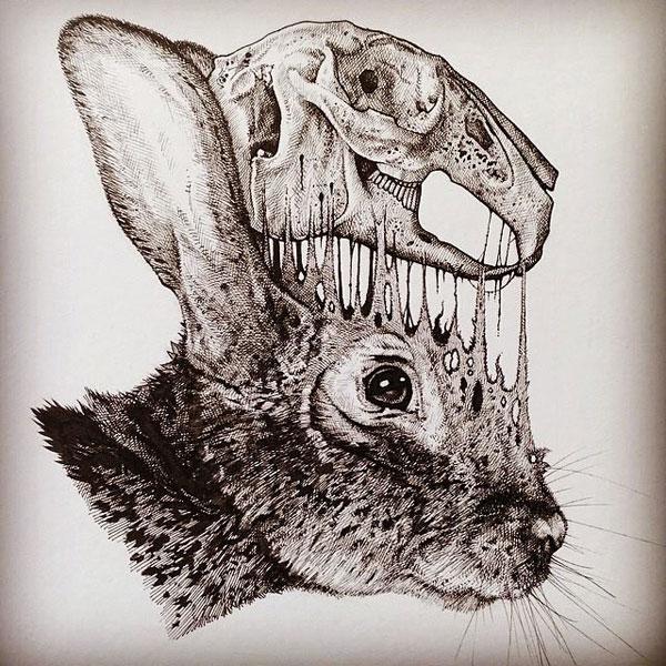 -misterioso-horripilante-gótico en blanco y negro de animales-cráneo-art-paul-jackson-13