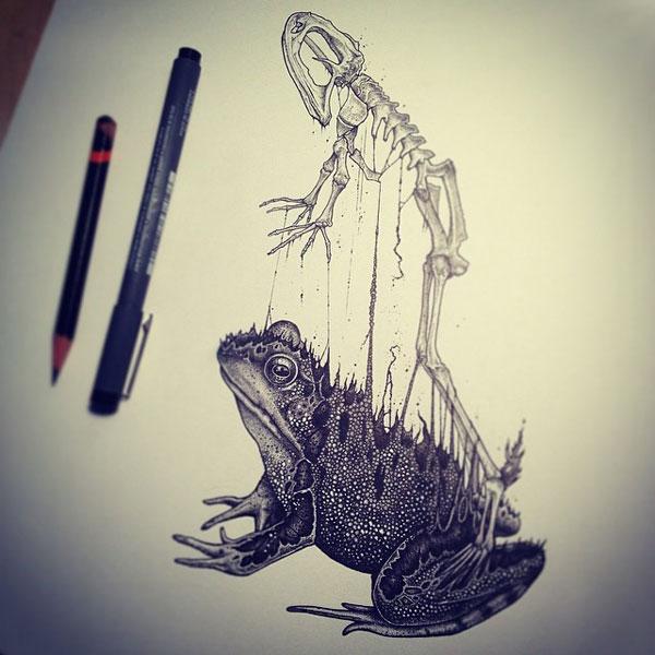 -misterioso-horripilante-gótico en blanco y negro de animales-cráneo-art-paul-jackson-4