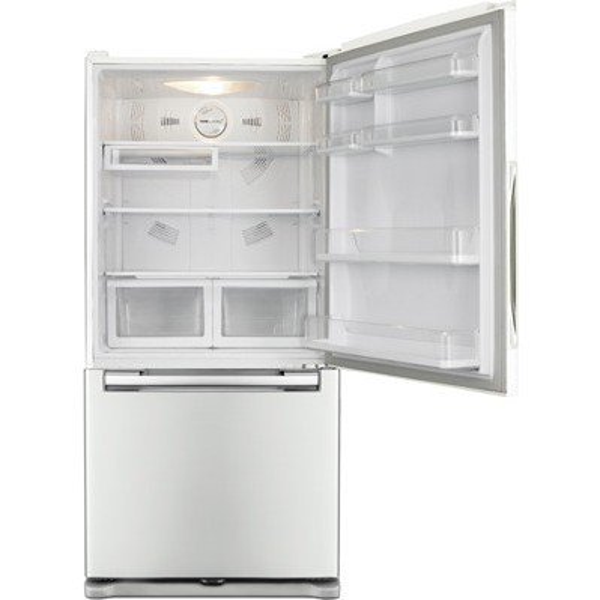 Samsung RB195ACWP 18 Cu Ft Counter Depth Bottom Freezer Refrigerator With Slide Out Glass