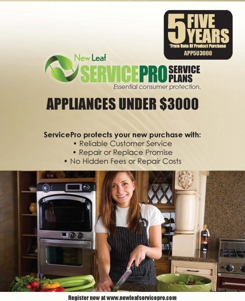 app5u3000 new leaf service pro 5 yr extended warranty for appliances under 3 000 excludes front load washers not for commercial use