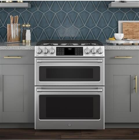 C2S995SELSS GE Cafe 30 Slide In Dual Fuel Double Oven Range Convection Self Clean