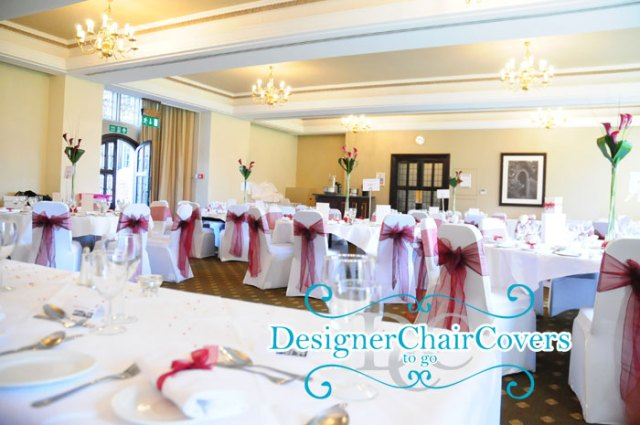 wedding chair covers organza red sashes