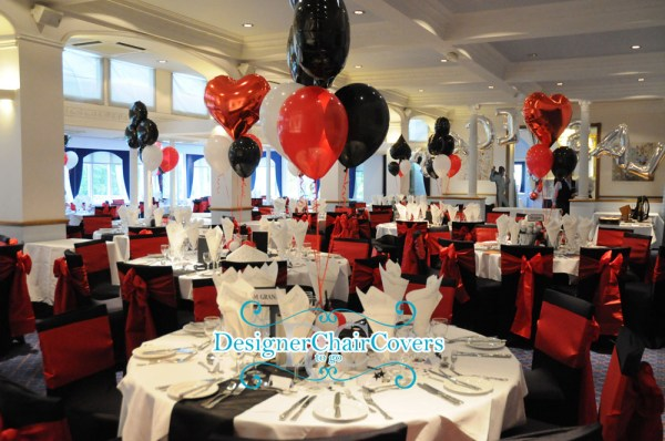 black and red chair covers theme party