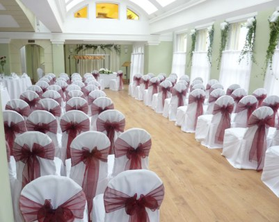 burgundy organza sash chair covers