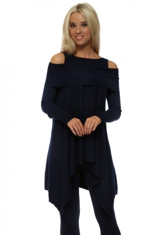 Navy Off The Shoulder Swing Jumper