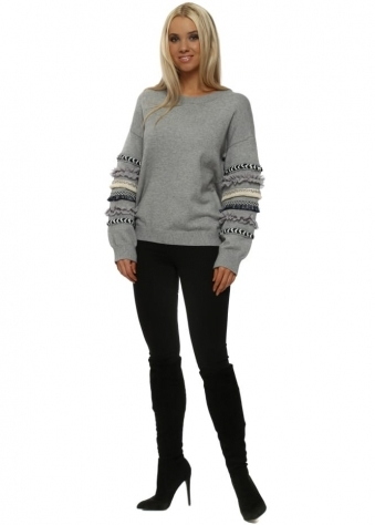 Grey Aztec Ruffle Sleeve Jumper