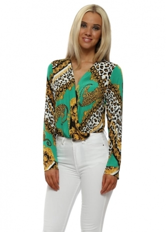 Green Cheetah Print Bodysuit