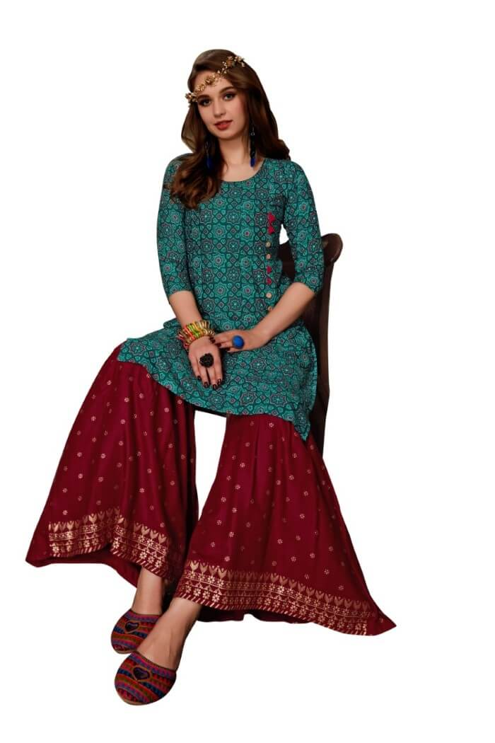 long kurti with sharara