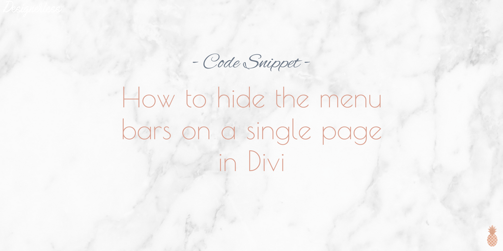 How to hide the menu bars on a single page in Divi