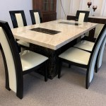 Brisbane Brown And Beige 180cm Marble Table With 6x Black Straightback Chairs Designer Marble