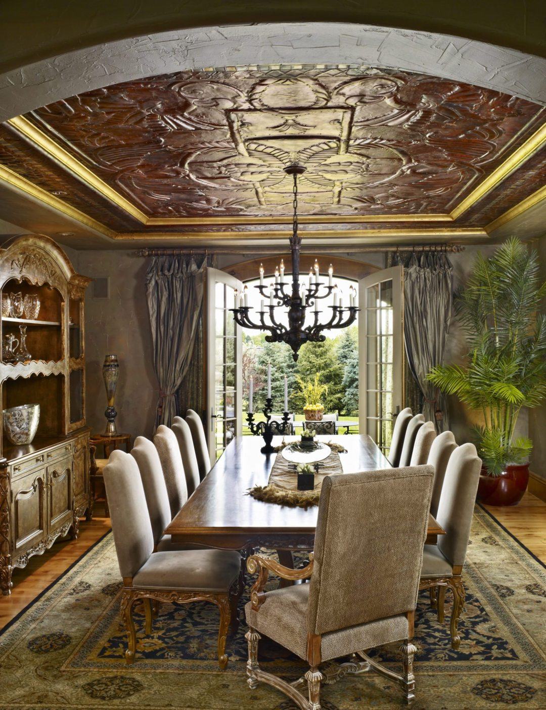 dining room with copper ceiling