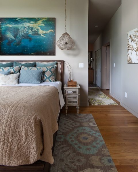 contemporary bedroom with art