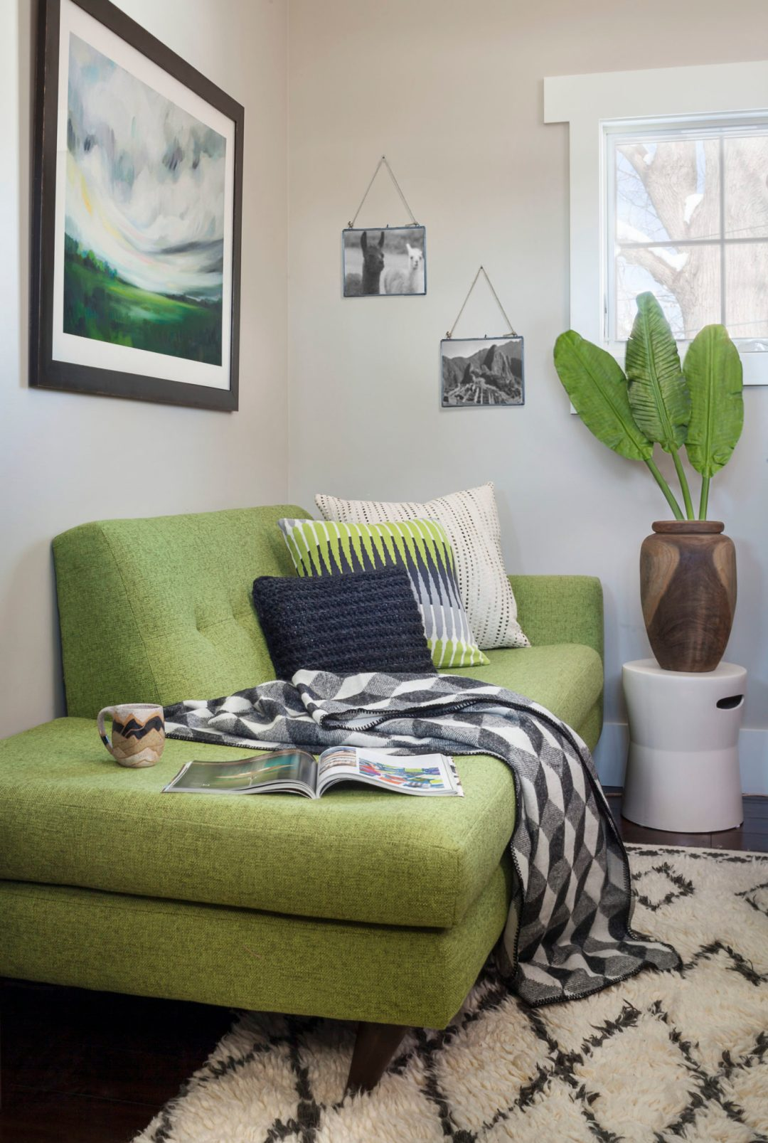 Jennifer Medoff, Dragonfly Designs, Longmont, CO , family, small green sectional